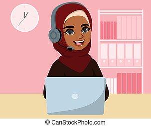 zentrieren, rufen, schwarz, moslem, frau