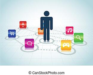 zentriert, design, apps, benutzer