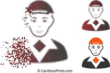 Zerbrochenes Pixel-Halbton-Man-Icon