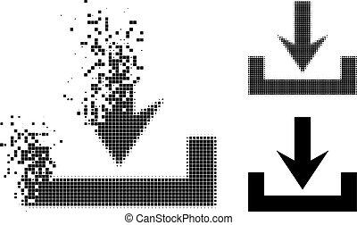 zerfallen, ikone, halftone, pixel, downloads