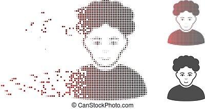 Zersetzen von Pixel Halbton brunet man Icon