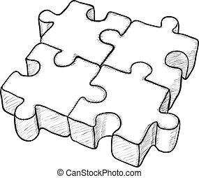 Zerteilte Vektorzeichnung - Rätsel