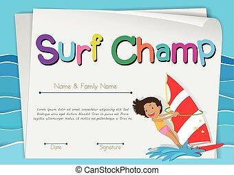 Zertifikat Vorlage für Surf-Champion.