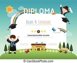 Zertifikate Kinder-Diplom, Kindergärten-Vorlage Layout Hintergrundrahmen Design Vektor. Bildungs-Vorschulkonzept Wohnung Art Stil