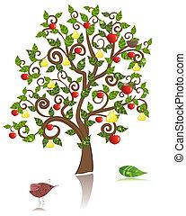 Zierbaum mit Apfel und Birne