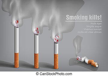 Zigaretten schmolzen mit Rauch.