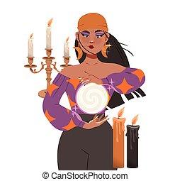 zigeuner, kugel, vermögen, rituell, kassierer, verrichtung, abbildung, vektor, zukunft, frau, oder, okkulte, voraussagen, kristall