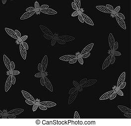Zikaden-Insekten nahtlose Muster mit schwarzem Hintergrund. Vector