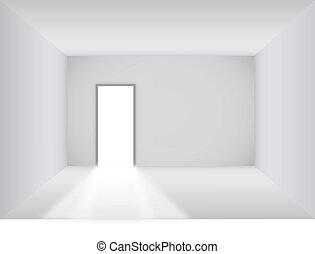 Zimmer mit offener Tür.