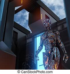 zimmer, zukunftsidee, cyborgs, zwei, metallisch