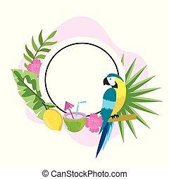 Zirkel Emblem mit Papageien und tropischen Blumen