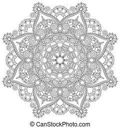 Zirkelverzierungen, runde Ornament-Geometrische Muster, schwarze und weiße Sammlung.