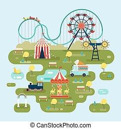 Zirkus mit Attraktionen oder Vergnügungsparkkarte