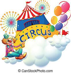 zirkus, tafel, clown, sitzen