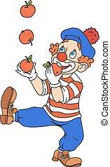 Zirkusclown jongliert.