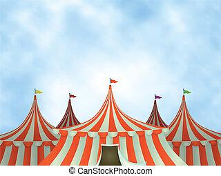 Zirkuszelte im Hintergrund