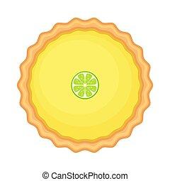 zitrone, vektor, freigestellt, hintergrund., torte, abbildung, oder, weißes, limette, selbstgemacht, slice., traditionelle , amerikanische