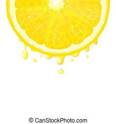 Zitronensegment mit Saft