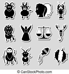 Zodiac-Schilder für Astrologie-Set von Cartoon-Tiere Stickern eps 10.
