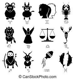 Zodiac-Schilder für Astrologie-Set von Zeichentricktieren Icons eps 10.