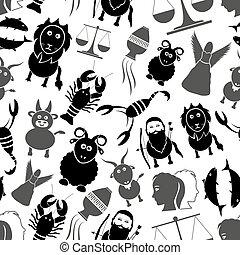 Zodiac Zeichen für Astrologie-Set von Zeichentricktieren Icons nahtlose Muster eps10.