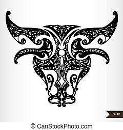 Zodiac Zeichen schwarz und weiß - Taurus.