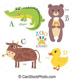 Zoo-Alphabet mit lustigen Cartoontieren. A, b, c, d Buchstaben. Alligator, Bär, Kuh, Ente