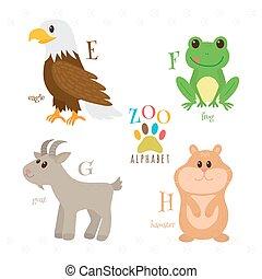 Zoo-Alphabet mit lustigen Cartoontieren. E, f, g, h Buchstaben. Adler, Frosch, Ziege, Hamster