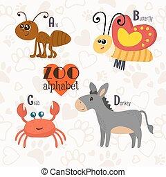 Zoo-Alphabet mit lustigen Tieren. A, b, c, d Buchstaben. Ameisen, Schmetterling, Krebs, Esel