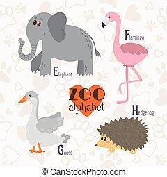 Zoo-Alphabet mit lustigen Tieren. E, f, g, h Buchstaben. Elefant, Flamingo, Gans, Igel