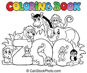 zoo, färbung, tiere, buch, zeichen