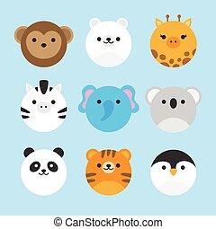 zoo, runder , satz, tier