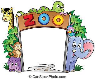 Zooeingang mit verschiedenen Tieren