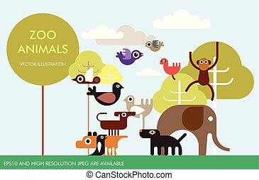 Zootiere Vektor Vorlagendesign