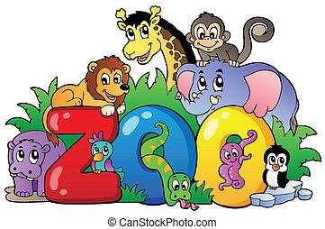 Zoozeichen mit verschiedenen Tieren