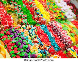 zuckerl, textanzeige, gelee, bunte, süßigkeiten