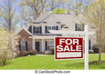 Zuhause für den Verkauf von Immobilienzeichen und Haus