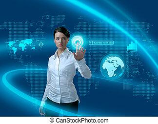 Zukünftige Geschäftslösungen, Geschäftsfrau in Interface