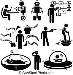 zukunft, technologie, roboter, piktogramm