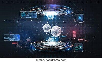 zukunftsidee, daten, hintergrund., interface., 2019-ncov., coronavirus, covid-2019, tödlich, hud., virus, hologramm, high-tech-, display., illustration., benutzer, art, 3d, visualization., blaues