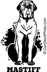 zunge, dogge, hund, design., aus., seine, sitzen, element