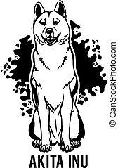 zunge, hund, akita, design., aus., inu, seine, sitzen, element