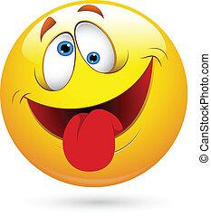Zunge raus witziger Smiley Face Vektor