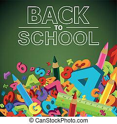 Zurück in die Schule mit Buchstaben, Nummern und farbigem Stift.