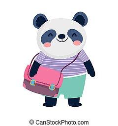 zurück, panda, bildung, schultasche, reizend, schule