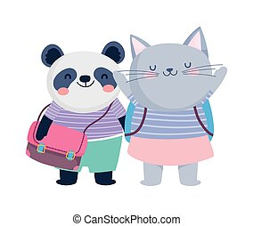 zurück, panda, katz, bildung, rucksäcke, reizend, schule