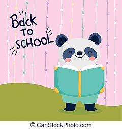 zurück, panda, lesende , bildung, schule, reizend, buch