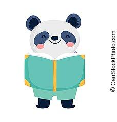 zurück, panda, lesende , schueler, bildung, schule, reizend, buch