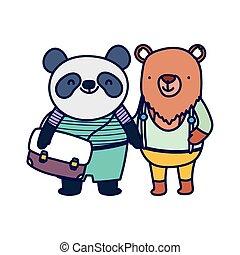 zurück, panda, rucksack, bildung, schule, reizend, bär