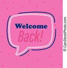 zurück, rosa, nachricht, herzlich willkommen, verkünden, hintergrund, reopening